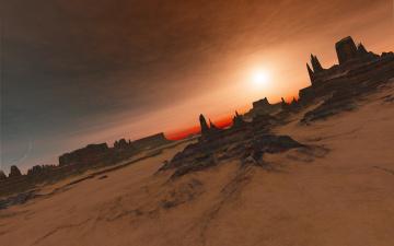 Картинка 3д+графика природа+ nature пустыня горы закат луна