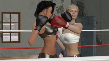 Картинка 3д+графика спорт+ sport бокс ринг девушки взгляд фон