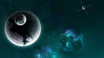Картинка космос арт планета спутник