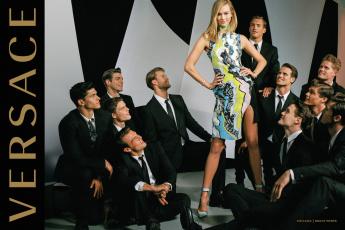 Картинка gigi+hadid бренды versace блондинка модель версаче парни платье улыбка