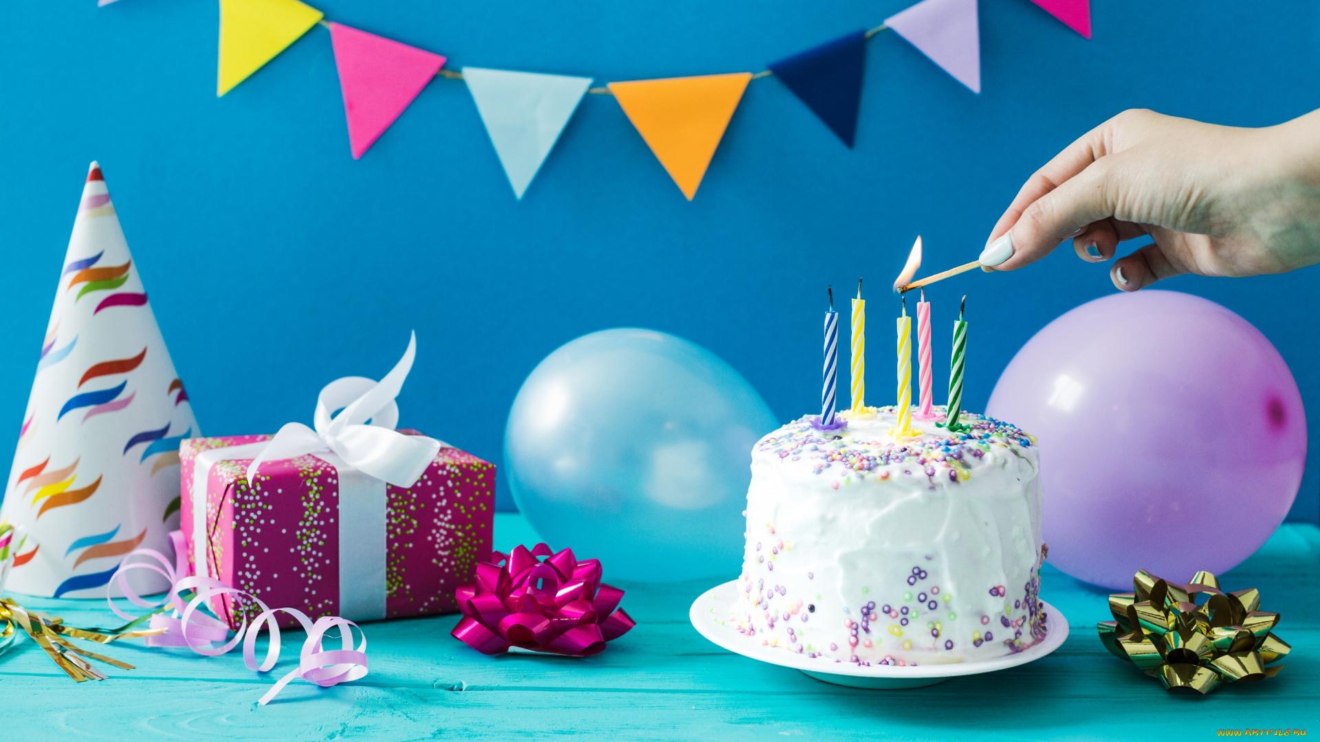 Смешариками, картинки день рождения шарики и торт