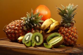 обоя еда, фрукты,  ягоды, ананас, банан, киви, грейпфрут