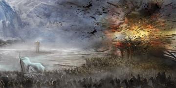 обоя фэнтези, иные миры,  иные времена, фигура, всадники, войско, взрыв, скалы