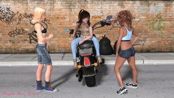 обоя 3д графика, люди-авто, мото , people- car ,  moto, взгляд, девушки, фон