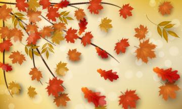обоя векторная графика, природа , nature, осень, фон, листья, ветка