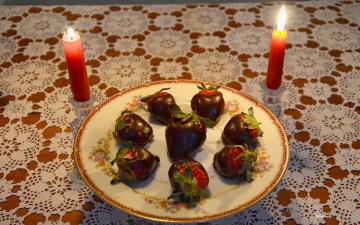 обоя еда, клубника,  земляника, свечи