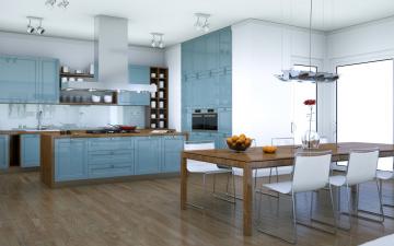 обоя интерьер, кухня, стильная, в, серых, тонах