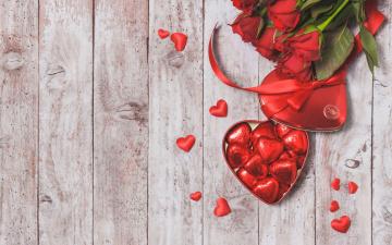 обоя праздничные, день святого валентина,  сердечки,  любовь, красные, розы, valentine`s, day, love, шоколад, roses, romantic, gift, сердечки, конфеты, heart, red