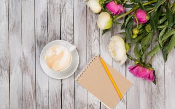 обоя праздничные, день святого валентина,  сердечки,  любовь, flowers, romantic, кофе, peonies, white, pink, пионы, valentine`s, day, бутоны