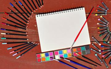 обоя разное, канцелярия,  книги, краски, кисточки, фломастеры, блокнот, карандаши
