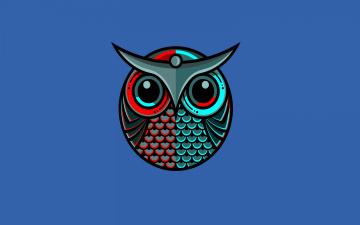 обоя рисованное, минимализм, owl, синий, птица, сова
