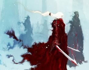 обоя фэнтези, призраки, снег, snow, зима, девушка, girl, fantasy, рисунок, winter, белые, волосы, white, hair, арт, art