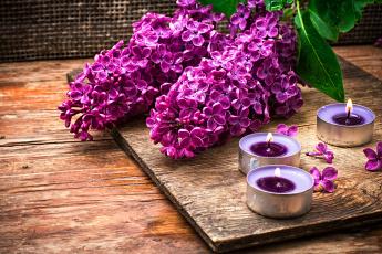 Картинка разное свечи доски сирень ветки цветы