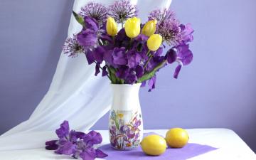 обоя цветы, букеты,  композиции, ирис, лимон, тюльпан