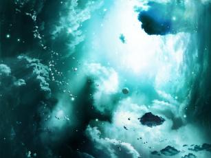 обоя космос, арт, туманность, облака, астероиды, планета