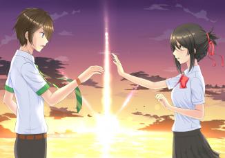 Картинка аниме kimi+no+na+wa фон парень взгляд девушка