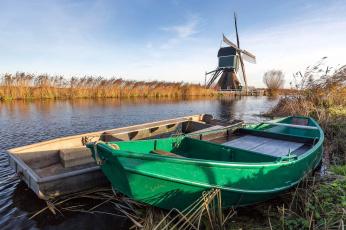 Картинка корабли лодки +шлюпки камыши мельница река
