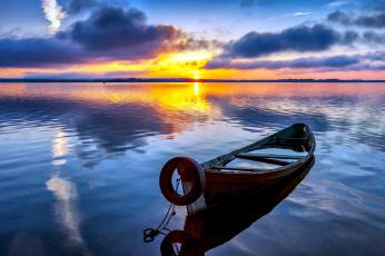 обоя корабли, лодки,  шлюпки, отражение, река