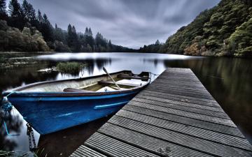 обоя корабли, лодки,  шлюпки, мостки, река