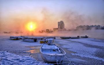обоя корабли, лодки,  шлюпки, снег, зима