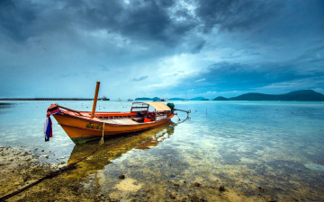 Картинка корабли моторные+лодки горы вода