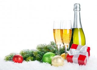Картинка праздничные угощения подарок ветка шарики шампанское