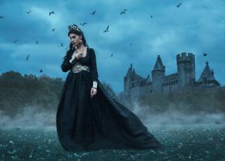 Картинка девушки -unsort+ креатив птицы tara valentine замок платье королева