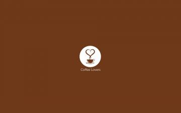 обоя рисованное, минимализм, чашка, пар, кофе, сердечко, круг, коричневый