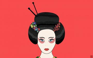 обоя векторная графика, девушки , girls, лицо, гейша, японка