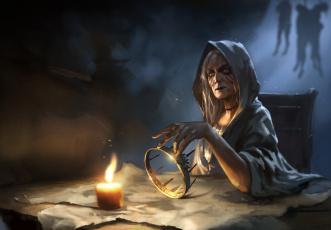 Картинка фэнтези маги +волшебники колдунья корона свеча ведьма карта