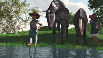 Картинка 3д+графика люди+ people мальчик лошади девочка деревья река