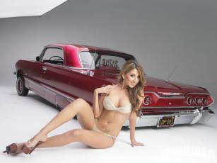 Картинка автомобили авто девушками impala chevy