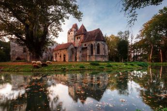 Картинка замок+pottendorf+австрия города замки+австрии развалины pottendorf австрия замок пруд