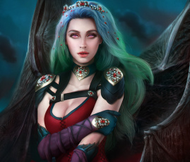 обоя фэнтези, демоны, платье, красавица, evelyn, суккуб, грудь, вампир, взгляд, крылья, арт, лицо