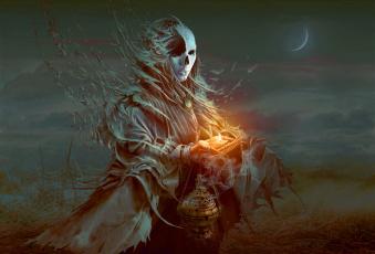обоя фэнтези, нежить, кости, месяц, огонь, магия, колдовство