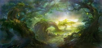 обоя фэнтези, пейзажи, сказка, лес, фонари, дорога, деревья, зелень, солнце