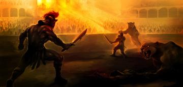 обоя фэнтези, люди, сражение, битва, гладиатор, животные, львы, арена
