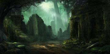 обоя фэнтези, иные миры,  иные времена, замок, развалины, стены, заросли