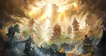 обоя фэнтези, иные миры,  иные времена, горы, огонь, китай, небоскрёбы, город, поднебесная