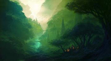 обоя фэнтези, иные миры,  иные времена, зелень, долина, дорога, город, деревья, костер