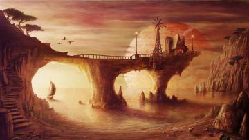 обоя фэнтези, иные миры,  иные времена, купол, планета, лестница, мост, река, город