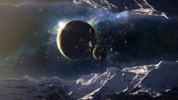 обоя космос, арт, звезды, вселенная, галактика, горы, планеты