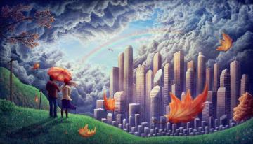 обоя фэнтези, иные миры,  иные времена, грёзы, радуга, облака, будущее, мир, мечта, небоскрёбы