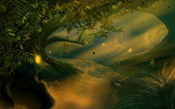 обоя фэнтези, иные миры,  иные времена, лес, сказка, волшебный, сказочный, деревья, трава, качели