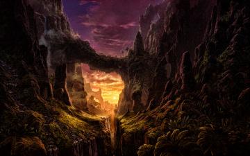 обоя фэнтези, иные миры,  иные времена, природа, корни, деревья, небо, вечер, скалы, горы, ущелье, долина