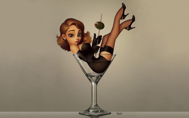Обои картинки фото юмор и приколы, напиток, девушка, рюмка, маслинка