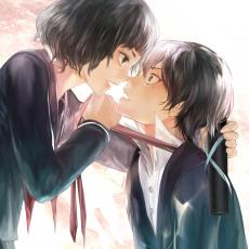 Картинка аниме *unknown+ другое art девушка парень tcb слезы настроение угроза сакура школьная форма