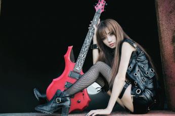 обоя музыка, - другое, стиль, девушка, лицо, гитара