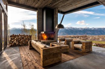 обоя интерьер, веранды,  террасы,  балконы, горы, пейзаж, дрова, камин