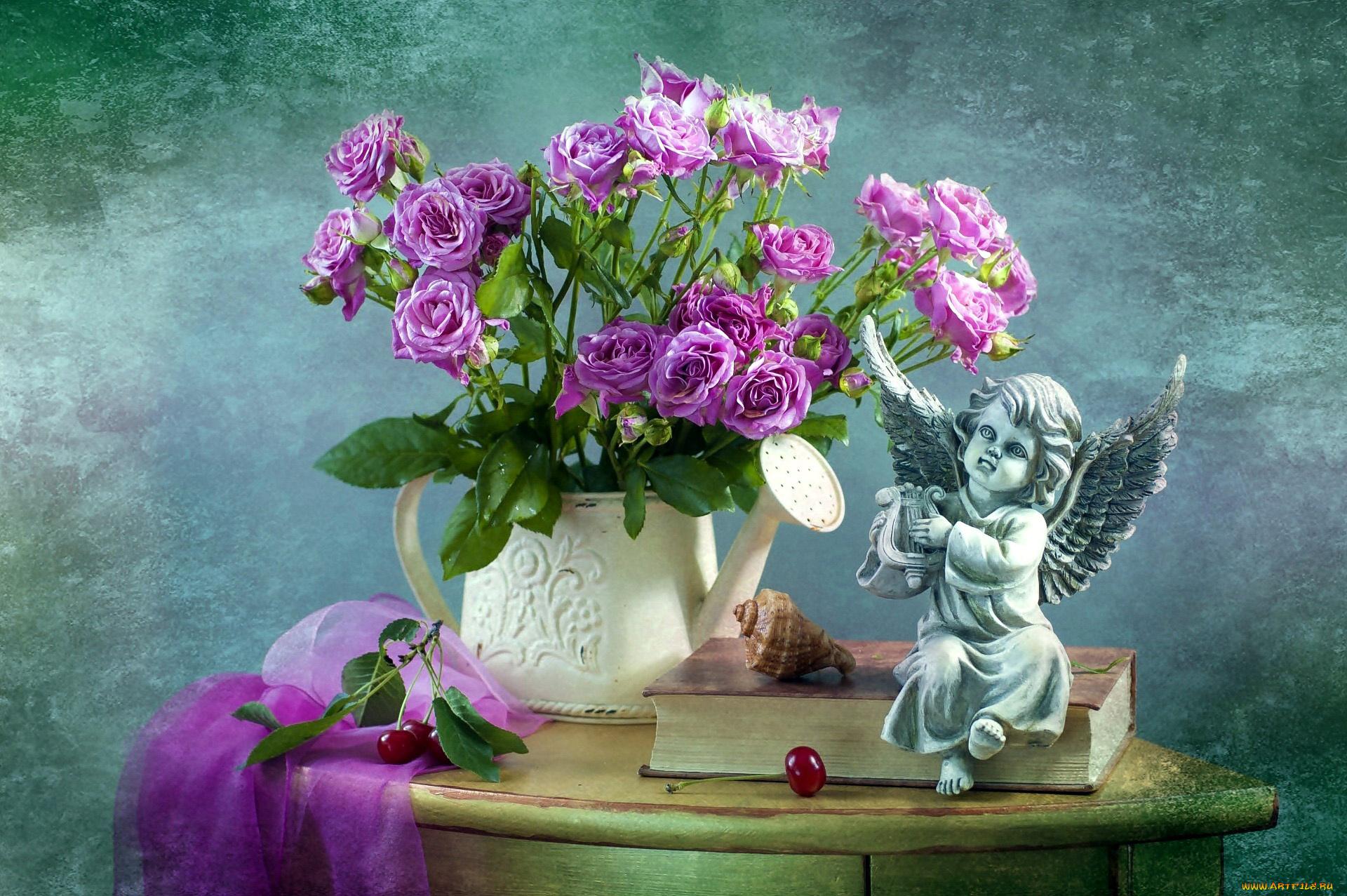 Приколы, открытки с цветами и ангелочками
